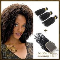 100g Brazilian Hair Natural Black Lace closure with bundles 3pc hair with 1 closure,natural color brazilian lace closure with 100% brazilian kinky curly virgin hair weaves