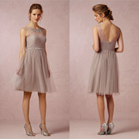 Wholesale Mink Grey Illusion Crew Neck Bridesmaid Dresses Short Soft Tulle Knee length Wedding Party Dresses For Junior Bridesmaid Girl Bridal Party