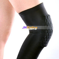 Cheap Wholesale-407-L 1Pair 2pcs Adult Honeycomb Pad Crashproof Antislip Basketball Protect Leg Knee Long Sleeve Free Shipping