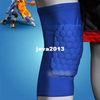Cheap Wholesale-407-Honeycomb Foam Pad Crashproof Antislip Basketball Leg Knee Short Sleeve Dark Blue XL