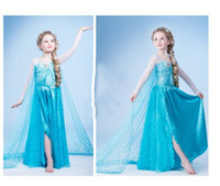 TuTu Summer Ball Gown 2014 New Frozen Elsa Costume Fashion Fantasy Blue Lace Pincess Girls Dresses Long Sleeve Kids Clothes With Yarn Cloak
