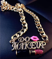 Wholesale Sweater Chain Necklaces Cheap - Free shipping!New letters lips sweater chain,set auger lipstick necklaces,fashion jewelry wholesale,cheap jewellery,bride jewelry.5pcs.PM