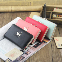 Wholesale Promotion Retail Candy Color Women Cat Leather Long Wallet Pocket Card Clutch Cente Bifold Purse
