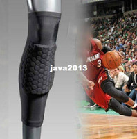 Cheap Wholesale-407-Sport Crashproof Antislip Basketball Leg Knee Elastic Long Sleeve Protector Gear Honeycomb Pad Gear Black Free Shipping 1Pcs