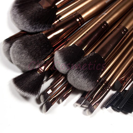 Wholesale 21 Pieces Professional Makeup Brush Sets Black Golden Synthetic Hair Ultra fine with Silver gray Leather Bag