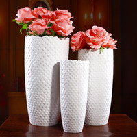 Wholesale European ceramic vases three piece suit contemporary and contracted creative flower white porcelain