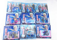 Wholesale Frozen Anna Elsa Sets Watch and Coin Purses kit one watch one wallet Fashion Quartz Frozen Anna Elsa Cartoon Children Watch wallet kit