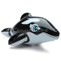Cheap Lovely Kawaii PVC Animal Inflatable Air-Filled Swimming Pool Shower Black Whale Toys For Baby Children Kids Birthday Gift