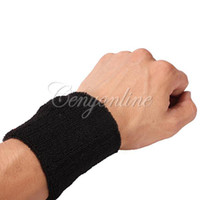 Wholesale 5pcs Unisex Black Sportline Cotton Wrist Wrister Bracer Support Cuff Sweat Bands Terry Cloth Sweatbands Wristband