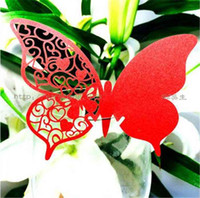 Wholesale Butterfly Paper Place Cards Birthday Party Hollow Out Heart Shape RED WINE GLASS CARD WE202