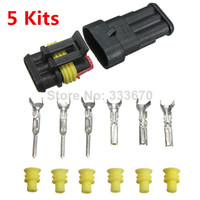 Wholesale 5 Sets New Car Auto Pin Way Sealed Waterproof Electrical Wire Connector Plug Set