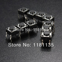 Cheap 10 pcs Lot 6 X 6 X 4.3mm 4 pin DIP Momentary Tactile Touch Tact Push Button Switch Wholesale Free Shipping