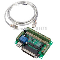 Cheap Upgraded 5 Axis CNC Interface Adapter Breakout Board For Stepper Motor Driver Mach3 + USB Cable Free Shipping