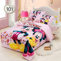 Woven mickey mouse bedding - minnie mouse bedding sets kids mickey bed set twin full size bedclothes d bed linen child girl boys bedsheet textile H01