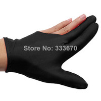 Wholesale 10pcs Ball Shooters Gloves Nylon Black Billiards Snooker Cue Billiard Table Three Finger Left Or Right Hand