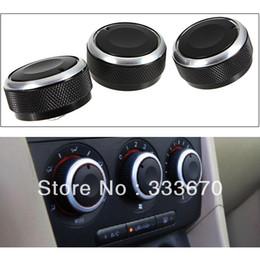 Wholesale 3pcs set Aluminum Alloy For Mazda3 Air Conditioning Heat Control knob switch Panel Elegant Black