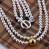Cheap Free Shipping 925 Sterling Silver Double Ball Chain With 18 K Big Ball Necklace #KN0054