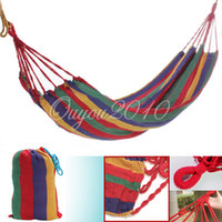 Cheap Portable Travel Outdoor Camping Hunting Tourism Cotton Rope Swing Fabric Stripes Single Leisure Folding Hammock Canvas Bed + Bag