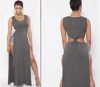 Wholesale Fashion Women s Hollow Out Slit Dress Sexy amp Club Long Dresses ZC047 Size S M L Free Gift