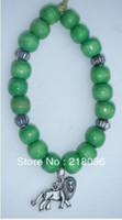 Cheap Free Shipping Fashion Jewelry Vintage Silver Lion Charm & Green Wooden Beads Bracelet Bangles DIY Findings 10PCS N508