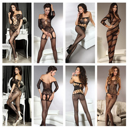 Wholesale New Hot Women Open Crotch Bodystocking Sexy Lingerie Fishnet Body Stockings Costume LC79371 LC79375 LC79378