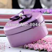 Cheap Wholesale free shipping 100pcs lot European Style Wedding Metal Tin Favor Box with Bow Tie,Mint Tin, -0798