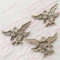 Cheap 9PCS Pendant Antique Bronze Eagle Charms Vintage Zinc Alloy Fashion Jewelry Findings Accessories 29*43.5mm DIY084