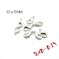Cheap DIY jewelry accessories metal accessories lobster clasp ( nickel- copper -plated white K) 10 * 5mm