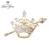 fashion rhinestone crown - EMS k gold plated crown brooches pins crystal rhinestone brooches fashion party jewelry accessories