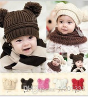 Cheap asdyWholesale - Free Shipping Fashion Baby Winter Beanie Hat Baby Toddler Knitted Double Ball Knitted Cap Children Hats Children Crochet Mou