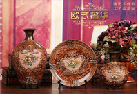 Wholesale Arts and crafts porcelain vase three piece household act the role ofing is tasted furnishing articles