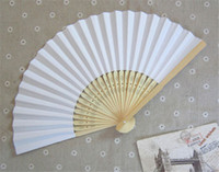 Wholesale Solid Color Wedding Gift Fans Accessories Handmade inches Bamboo Handle Paper Fans Wedding Gifts Souvenirs