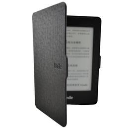 Clásico colores negros de cuero de la PU cubierta elegante del caso ultra delgado para Paperwhite Kindle durable del envío libre