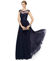 plus size mother of the bride dresses - Vintage Chiffon Navy Blue Lace Crew Illusion Neck Prom Evening Gowns Appliques Beads Cap Sleeves Plus Size Mother of the Bride Dresses EB216