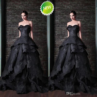 Wholesale Luxurious Prom Dresses formal gown sweetheart sweep train ball gown black lace applique layers corset fashion party evening dresses