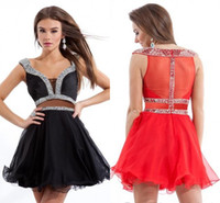 Cheap Formal Beach Homecoming Dress Cheap 2015 Girls Graduation Dresses Beaded Short Mini Dress Sheer Cocktail Party Cocktail Gowns Sexy