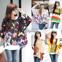 Wholesale Summer Hot Sale Women s Oversized Blouse Batwing Dolman Sleeve Chiffon Shirt Bohemian Tops Colors SV000978 b010