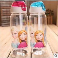 Wholesale 2 colors new FROZEN plastic water bottle kids cartoon drinkware children straw cups cute cup tea kettle gift frozenC20