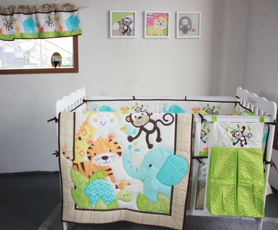 New Happy Jungle Animals Friends Baby Bedding Set Crib Set Bed Kit Applique Quilt Bumper Fitted