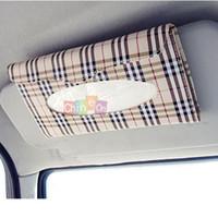 Wholesale New Arrival Car SunVisor Plaid Paper Towel Napkin Tissue Clip Holder Box Storage Case Holder
