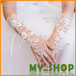 Wholesale 2014 Bridal Gloves About cm Luxury Lace Diamond Flower Glove Hollow Wedding Dress Accessories HQ0900