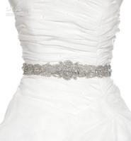 hand made - Crystal Shine Beaded Hand Made Wedding Belt Bridal Sash With Crystal And Rhinestone Wedding Dress Sash Bridal
