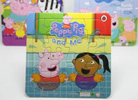 Wholesale Peppa Pig george Pig Cartoon Baby Boys Girls Paper Jigsaw Puzzle for Kids sets Birthday Gift Toy