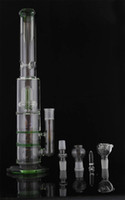 Wholesale Glass Bong inch cm Splash Guard Circular Percolator Double HoneyComb Disc Perc ice Pinch Straight Mouthpiece Water Pipe with Blue Rim