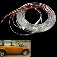 Wholesale 12mm x M DIY Decorative Rib Ribbon Wrap Roll Sticker for Car Auto Decals Silver