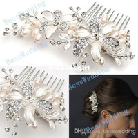 Cheap Wholesale - New Coming High Quality Floral Pearl Crystal Comb Crown Tiara Bridal Headpiece Wedding Hair Accessories Free Shipping Ready to S