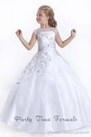 kids prom dresses - 2014 New Hot coral Beads Bateau Sleeve Cap Floor Length Ball Gown Soft Tulle Zip up Back Long kids prom flower girl pageant dresses