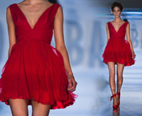 Reference Images sexy mini short - 2014 New Mini Red Party Dresses Sexy Chiffon V neck Cocktail Short Prom Bridal Gowns A line Skirt Paolo Sebastian Cheap Under