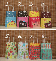 Wholesale 8 New Models Cute Cartoon Gift Paper Bags Small Paper Hand Bags Kraft Paper Sacks Children Shopping Bags Mix Order