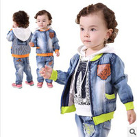 Wholesale EMS FREE Kids Clothing Sets Children Outfits Baby Boy White Hoodie Sweater Denim Jacket Jeans Cotton Green Orange Boys Sets K0312